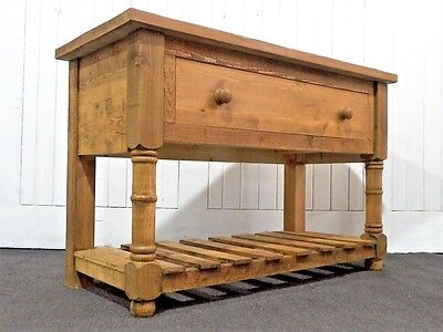 Large reclaimed wood farmhouse rustic pine console table