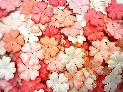 50 Mixed Tone Red-Orange Heart Flowers (25 mm) mulberry paper for Craft & D.I.Y