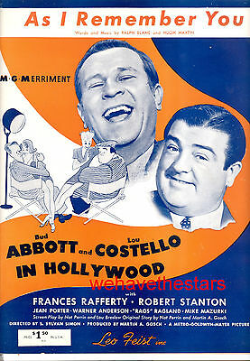 """ABBOTT & COSTELLO IN HOLLYWOOD """"As I Remember You"""" HIRSCHFELD Artwork"""