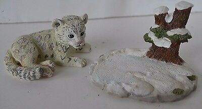 Vtg 1995 Hamilton Collection Snow Leopard Figure Protect Nature's Innocents