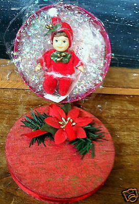 """Cameo Kids Doll Collection~2-3/4"""" Doll Dressed n Red &Holly N Rd. Poinsettia Box"""