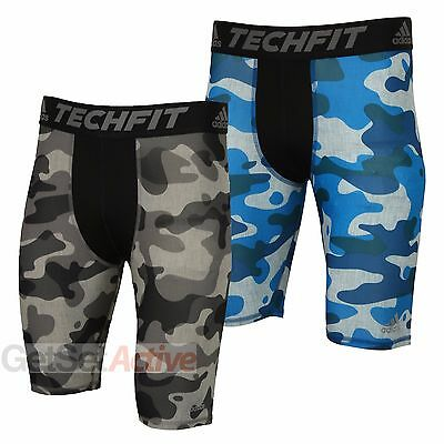 adidas Mens TechFit Base 9 Inch Compression Short Tights Camo Design Gym Shorts