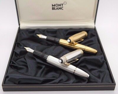 2x MONTBLANC Solitaire 146 Fountain Pen - Solid Silver 925 Barley & Gold Vermeil