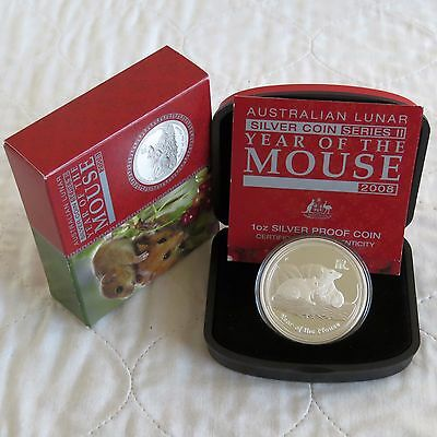 AUSTRALIA 2008 LUNAR YEAR OF THE MOUSE 1oz $1 .999 SILVER PROOF - complete