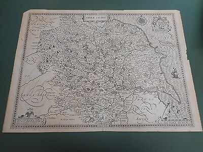 100% Original Large Yorkshire Map By John Speed C1616 Latin Text Edition