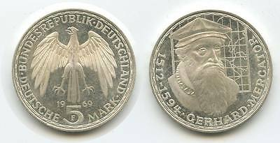G6755 - BRD 5 Mark 1969 F PROOF PP Gerhard Mercator 1512-1594 KM#126.1 Silber