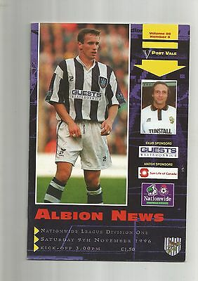 West Brom v Port Vale 9th November 1996 VGC