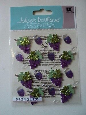 Ek Success Jolee's Wine Glass And Grapes Repeats Dimensional Stickers Bnip