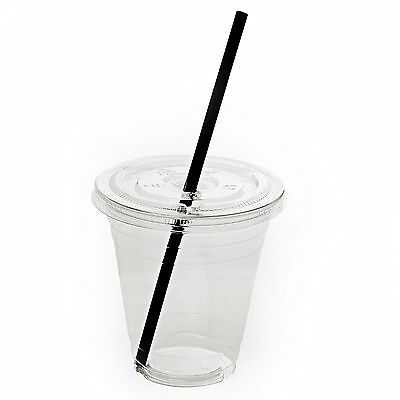 50 Sets 16oz Plastic Clear Cups with Flat Lids and Straws