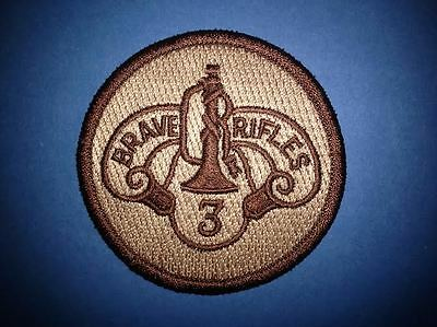 US Army 3rd Cavalry Brave Rifes Desert Tan Collectable Jacket Hat Patch Crest