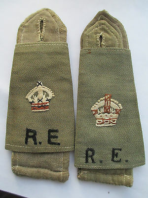 WW1 British Army - R.E. - Royal Engineers Epaulettes Sleeves with King's Crown.