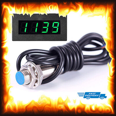 Green LED 12V 4 Digital Tachometer RPM Speed Meter Switch Sensor Mill Lathe CNC