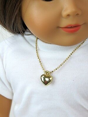 """Gold Heart Necklace made for 18"""" American Girl Doll Clothes Accessory Jewelry"""