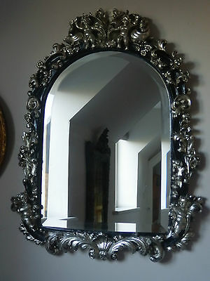 Antique Silver/Black Ornate Arch Shape Cherub French Style Bevelled Wall Mirror
