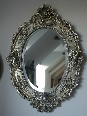 Antique Silver Ornate Oval Cherub Cupid French Style Bevelled Wall Mirror