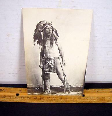 Antique Real Photo Postcard ThunderCloud American Indian Chief No. 8 !