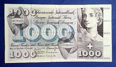SWITZERLAND: 1 x 1,000 Franc Banknote (1974) - Very Fine Condition