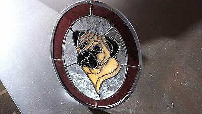 Bullmastiff- Very impressive Stained Glass   by Ingrid Jponsson