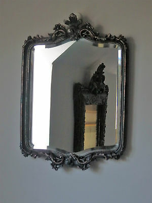 Small Silver Gilt Leaf French Style Bevelled Wall Mirror