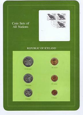 Republic of Iceland 6 pc Mint Set 1981-84 BU Coin Sets of All Nations stamp