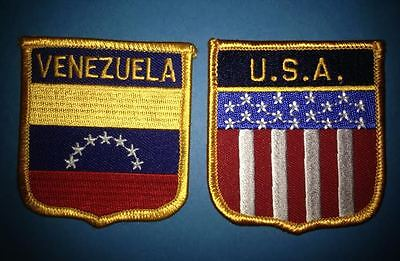 2 Lot Venezuela USA Shield Flag Patch Hat Jacket Biker Vest Travel Patches