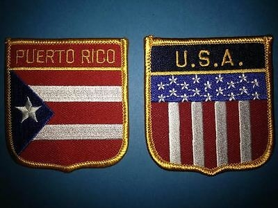 2 Lot Puerto Rico USA Shield Flag Patch Hat Jacket Biker Vest Travel Patches
