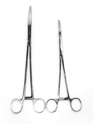 "2pc Set 10"" + 12"" Curved Hemostat Forceps Locking Clamps Stainless Steel"