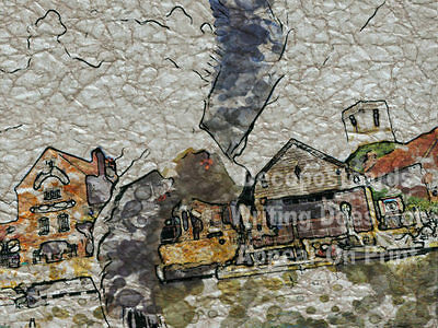 A2 Poster Flying Gull Historic Market Town Wareham Quay # tracl 027