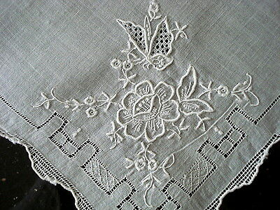 VINTAGE~White Linen HANKY~Floral Embroidery/Drawn Work~Bridal-Wedding