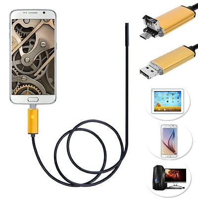 2 in 1 Android USB Endoscope Inspection 7mm Camera 6 LED HD IP67 Waterproof New
