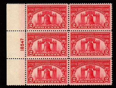 US Stamps: 627 Plate Block 6 Mint, o.g., Never Hinged (cv$52.50)