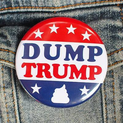 DUMP DONALD TRUMP BUTTONS - us presidential race republican democrat pin badge