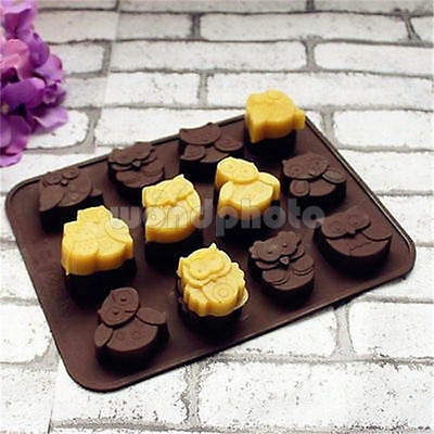 Cute Silicone 12 Owl Cake Decorating Mould Fondant Cookies Chocolate Baking Mold