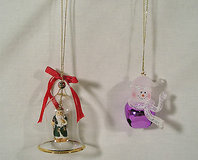 2 Christmas Ornaments, Gold Trim Santa Glass Bell, Frosted Snowman Purple Bell