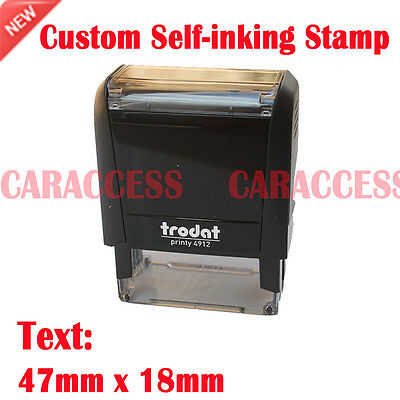 Custom Personalised Self Inking Rubber Stamp Business Name Address Logo 47x18mm