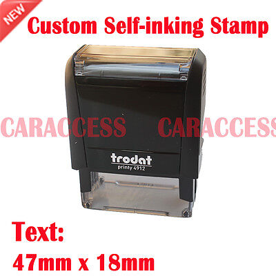 Customizied Personalised Self Inking Rubber Stamp Name Address Logo 47x18mm