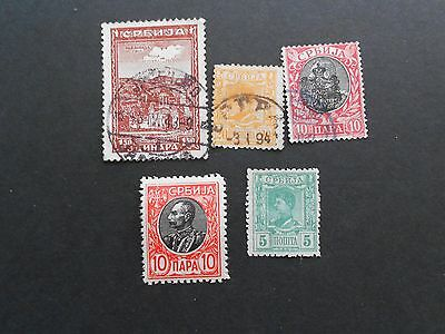 SERBIA 3 x Used and 2 Mint Hinged Stamps
