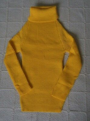 Vintage Polo-Neck Jumper - Age 6-8 Years Approx - Tellow ribbed Acrylic -  New