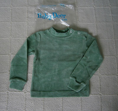 Vintage Baby Velour Long Sleeve Top - Age 2 - Green - Cotton/Nylon - New