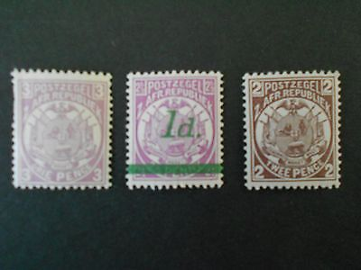 TRANSVAAL 3 Mint Never Hinged Stamps