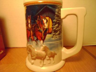Running Free Budweiser Beer 05 Holiday Christmas Stein Clydesdales Horses NEW