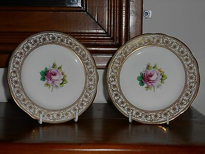 Hammersley - Central hand Painted Rose - Pair Side Plates - Filigree Gilded Rim.