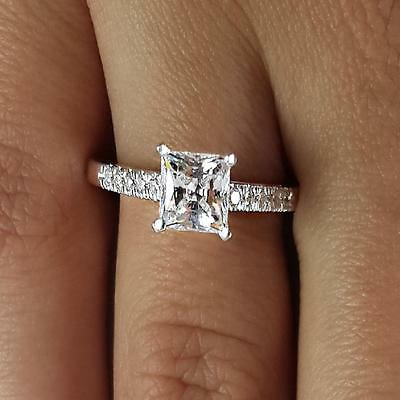 1.65 Ct Princess Cut D/Si1 Diamond Solitaire Engagement Ring 18K White Gold