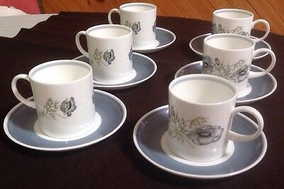 Wedgwood 'Glen Mist' Coffee 6 X Cups and Saucers Susie Cooper Design New