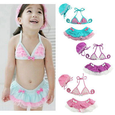 Toddler Baby Girl Swimsuit Bikini Set Kids Tutu Skirt Swimming Party Costume+Hat