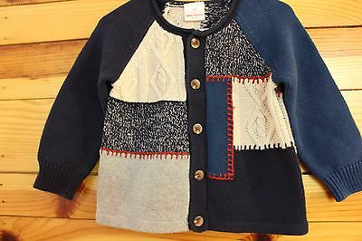 *HANNA ANDERSSON* Boys Patchwork Cardigan Sweater Size 80 18-24 Months
