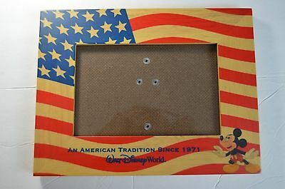 Walt Disney World Mickey Mouse American Flag Picture Frame SEE CONDITION 7 x 8.5