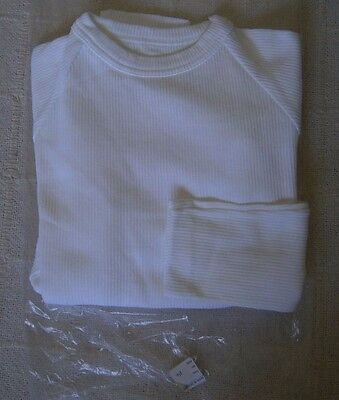 Vintage Stretch Skinny Rib Sweater - Age 14 - White Ribbed Cotton/Nylon - New
