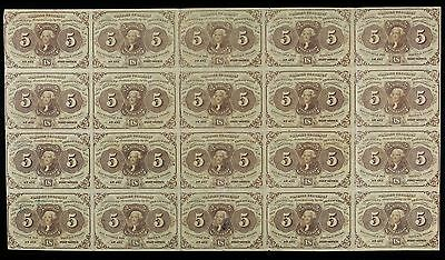 1862-1863 1st Issue 5¢ Fractional Notes - Uncut Sheet - Fr. 1230 (4x5)