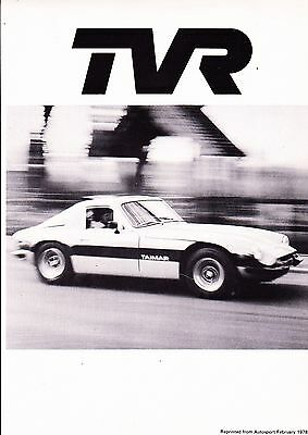 TVR Taimar period road test/ brochure - 1978 - mint condition